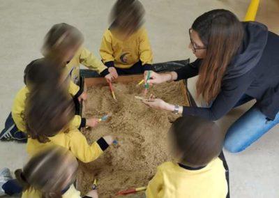 Comunidad educativa familias en la clase